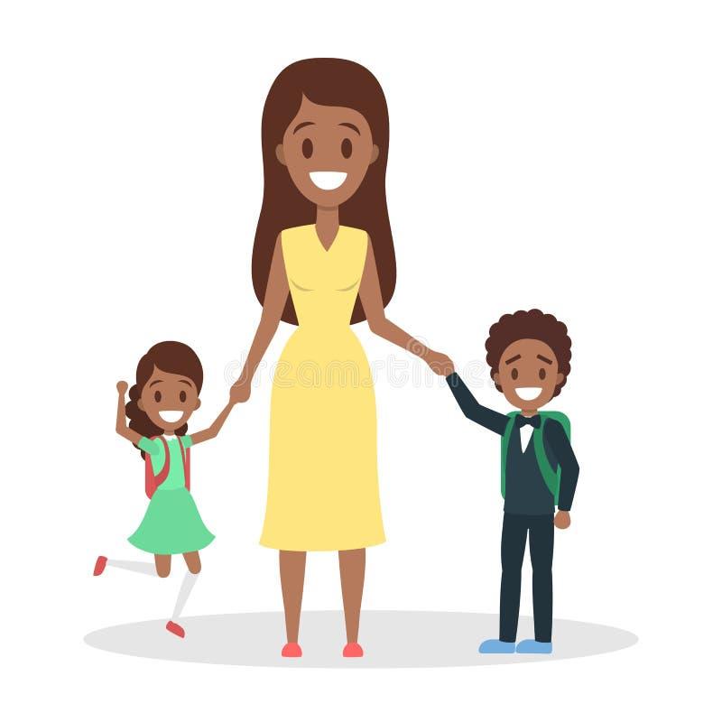 Situación de la madre con los niños Alumnos con la mochila libre illustration