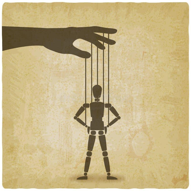 Situación de la marioneta con las manos en fondo del vintage de las caderas libre illustration