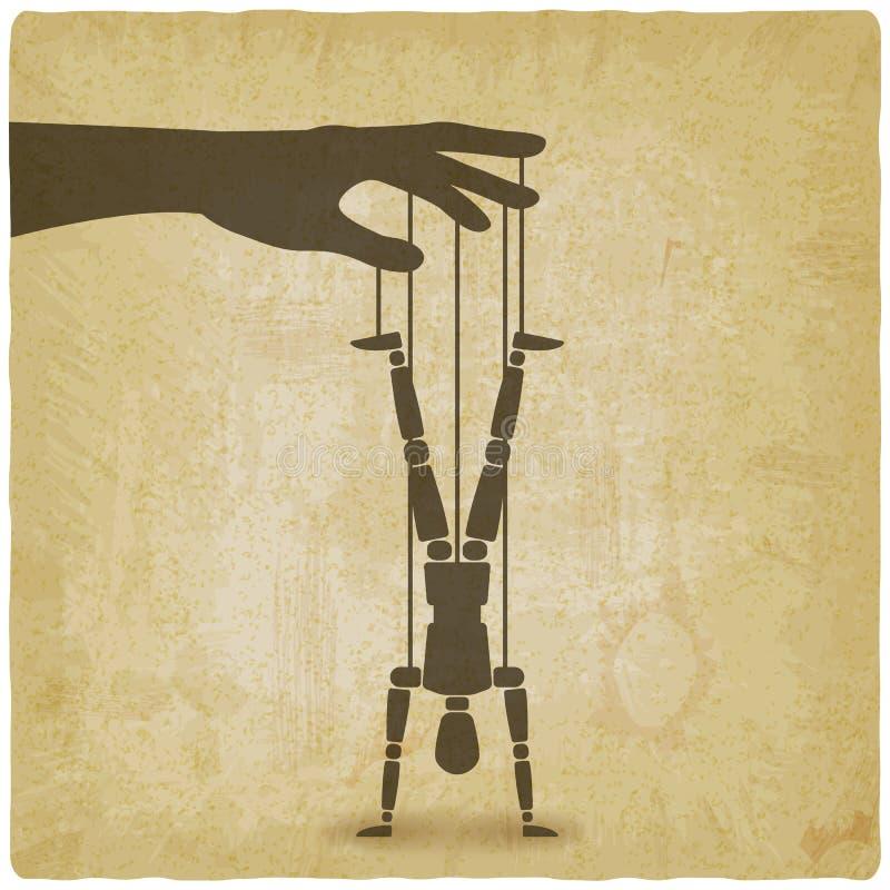 Situación de la marioneta en fondo al revés del vintage de las manos libre illustration