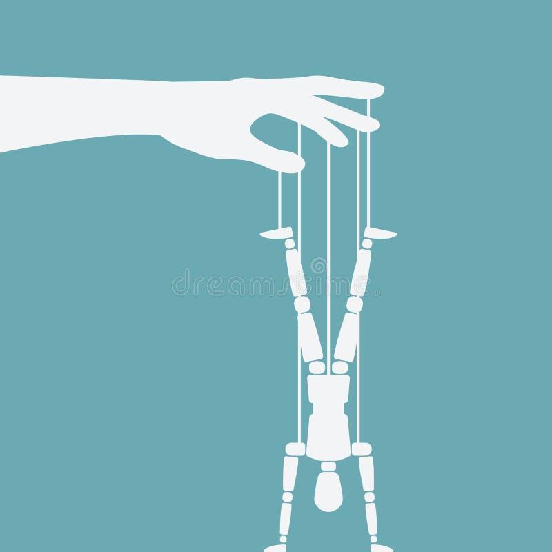 Situación de la marioneta en las manos al revés stock de ilustración