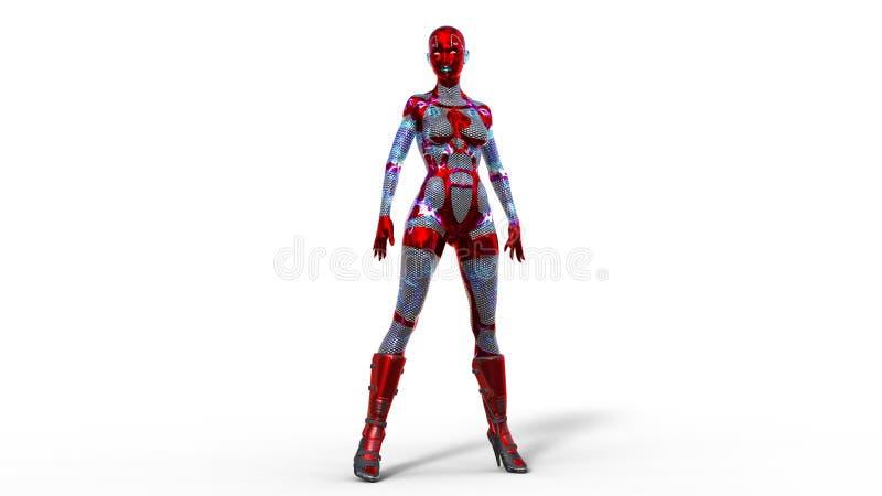Situación de la mujer de Android, cyborg femenino en la armadura aislada en el fondo blanco, muchacha de la ciencia ficción, 3D p stock de ilustración