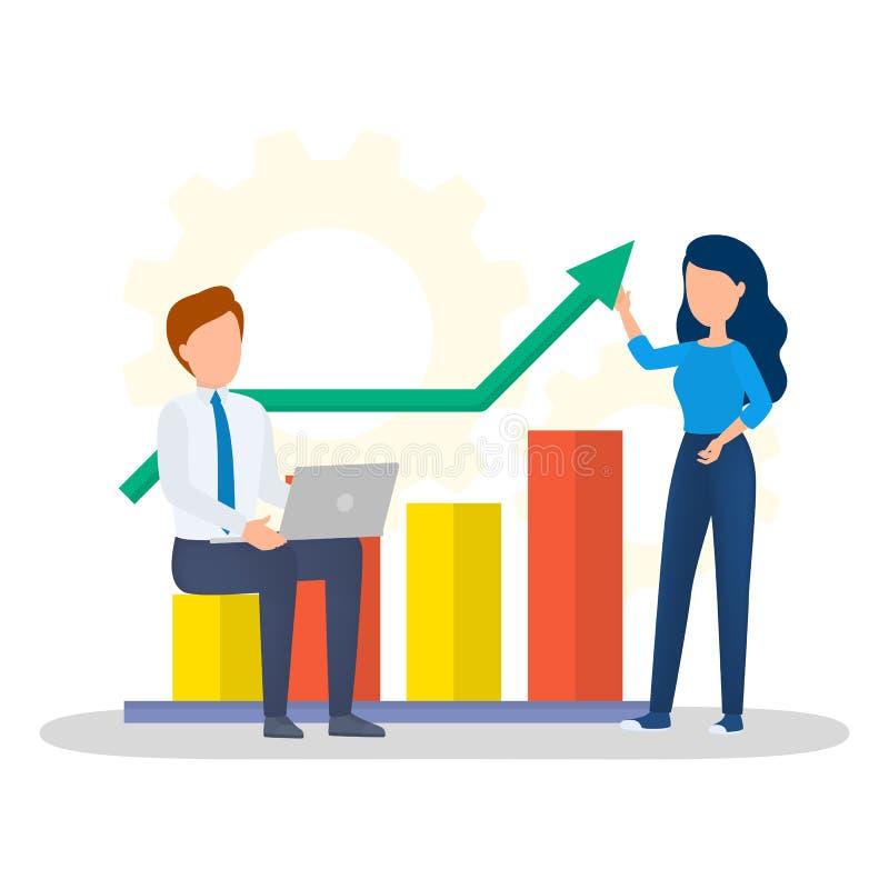 Situación de la mujer en el gráfico y hacer la presentación stock de ilustración