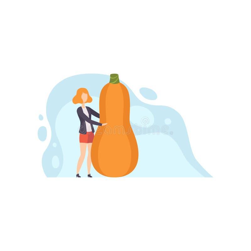Situación de la mujer joven al lado del ejemplo gigante del vector de la calabaza moscada en un fondo blanco libre illustration