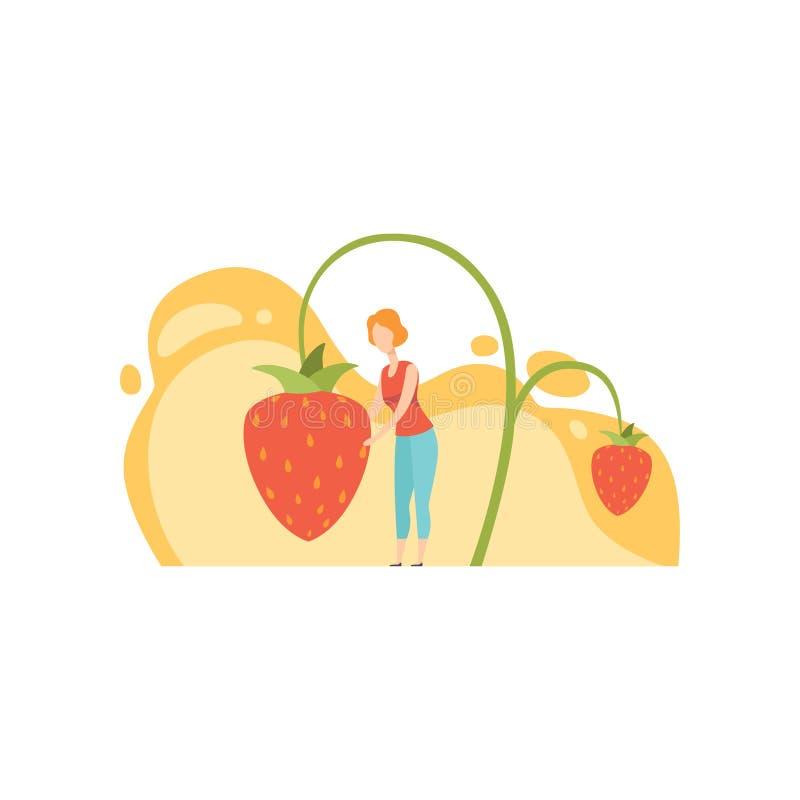 Situación de la mujer joven al lado del ejemplo maduro gigante del vector de la fresa salvaje en un fondo blanco stock de ilustración