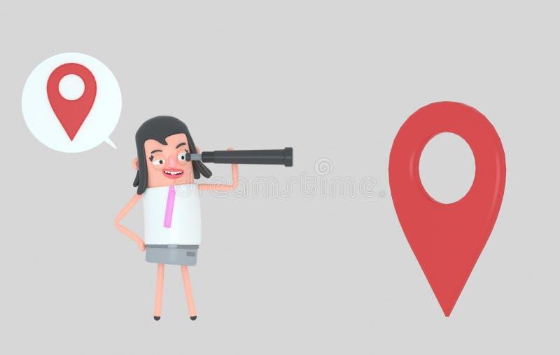 Situación de la mujer de negocios y observación adelante en un catalejo ilustración 3D stock de ilustración