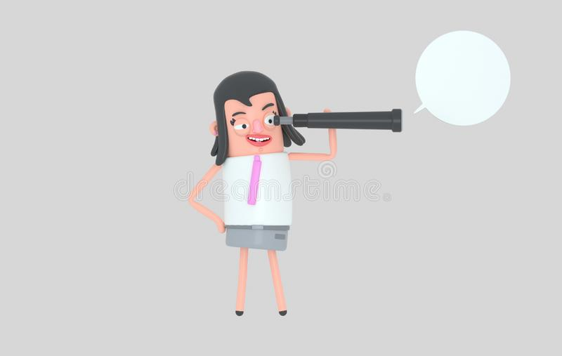 Situación de la mujer de negocios y observación en un catalejo ilustración 3D libre illustration