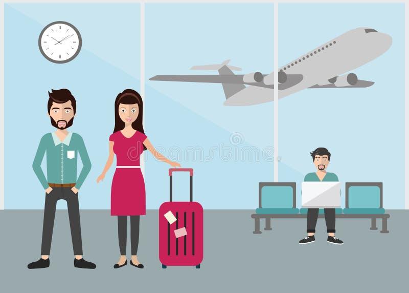 Situación de la mujer y del hombre de negocios de negocios en el terminal de aeropuerto, concepto del viaje de negocios Vector pl stock de ilustración