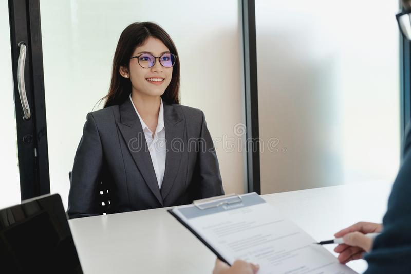 Situación de negocio, concepto de la entrevista de trabajo foto de archivo libre de regalías