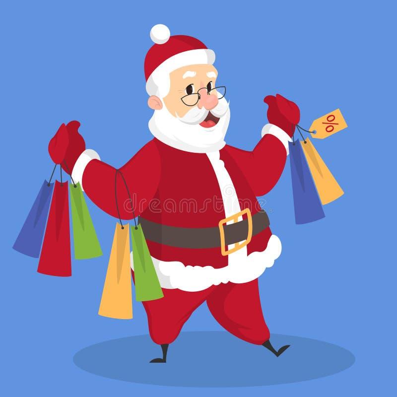 Situación de Santa Claus en ropa roja con el bolso de compras libre illustration