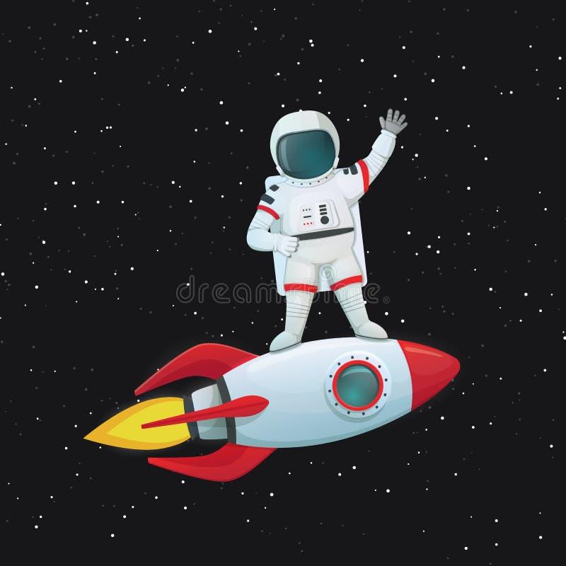 Situación del astronauta en la nave del cohete que vuela que agita una mano y la otra en jarras ilustración del vector