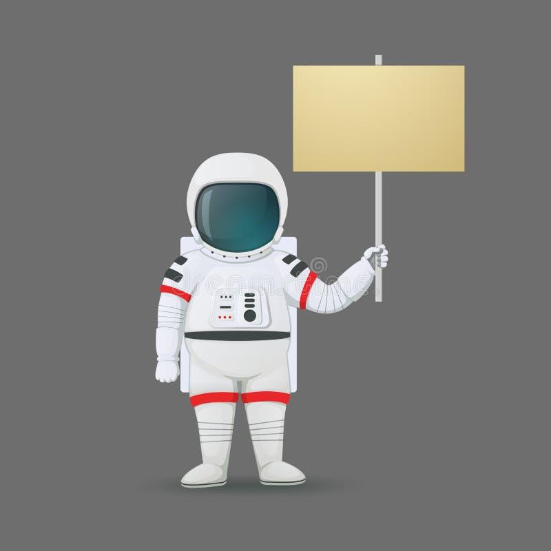 Situación del astronauta y llevar a cabo una muestra aislada en un fondo gris Anunciación, protestando ilustración del vector