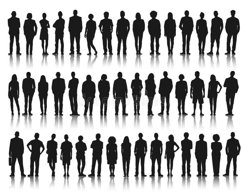 Situación del grupo de personas de la silueta stock de ilustración