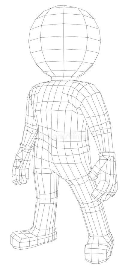 Situación del hombre de la marioneta 3d ilustración del vector