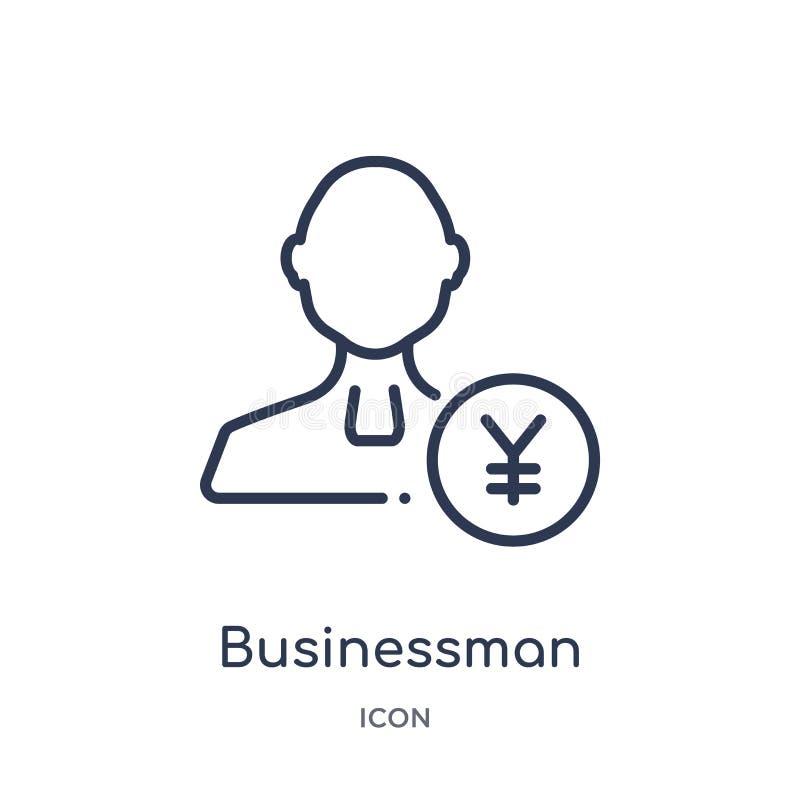 situación del hombre de negocios con el icono de los yenes de la colección del esquema de la gente Línea fina situación del hombr stock de ilustración