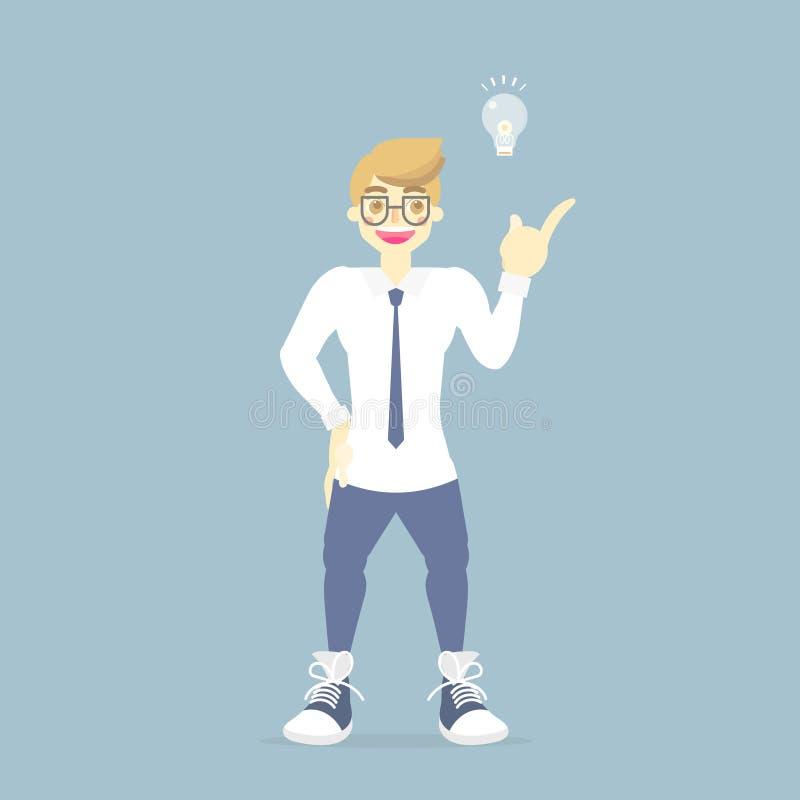 Situación del hombre de negocios con la lámpara de la bombilla, teniendo concepto creativo del instpiration de la idea libre illustration