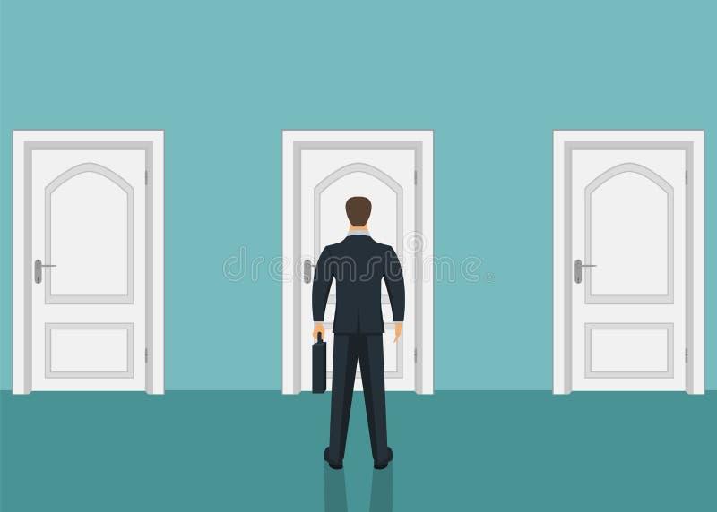 Situación del hombre de negocios delante de la puerta Elegir la manera Mudanza adelante ilustración del vector