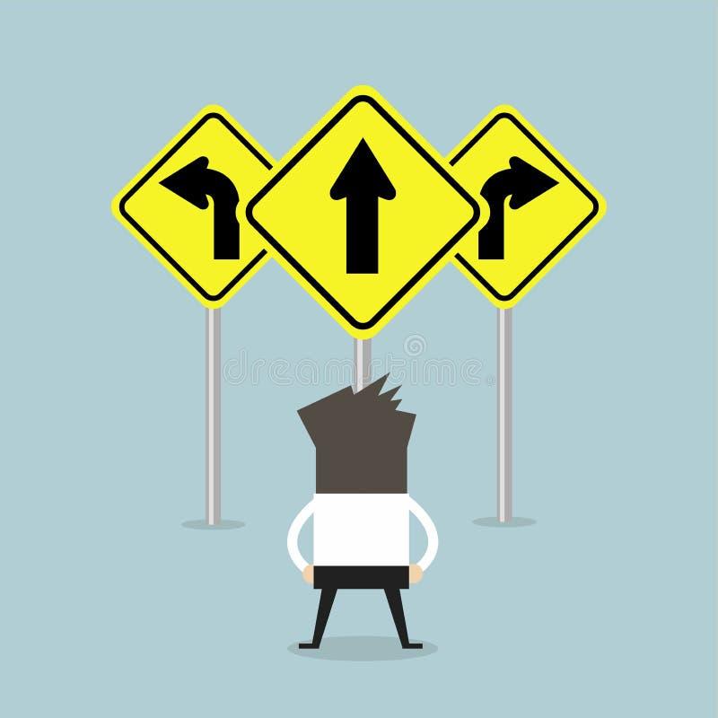 Situación del hombre de negocios en señal de tráfico de tres vías de las flechas libre illustration
