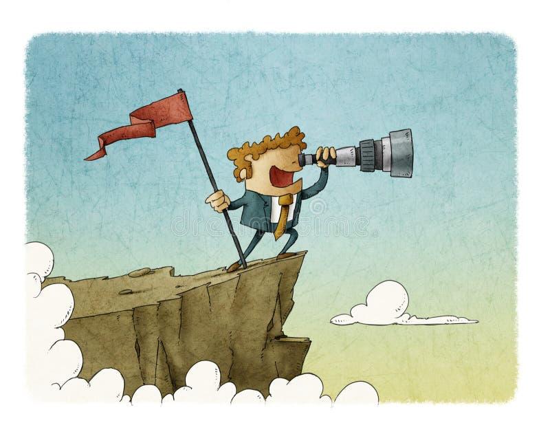 Situación del hombre de negocios encima de una montaña con una bandera y mirada en el telescopio, éxito del concepto del negocio ilustración del vector