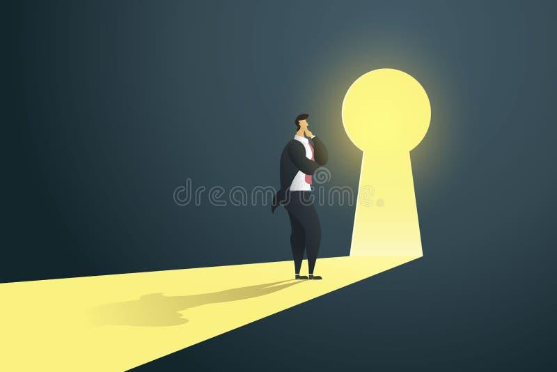 Situación del hombre de negocios que piensa cerca de puerta del ojo de la cerradura en la pared del agujero en las caídas ligeras foto de archivo