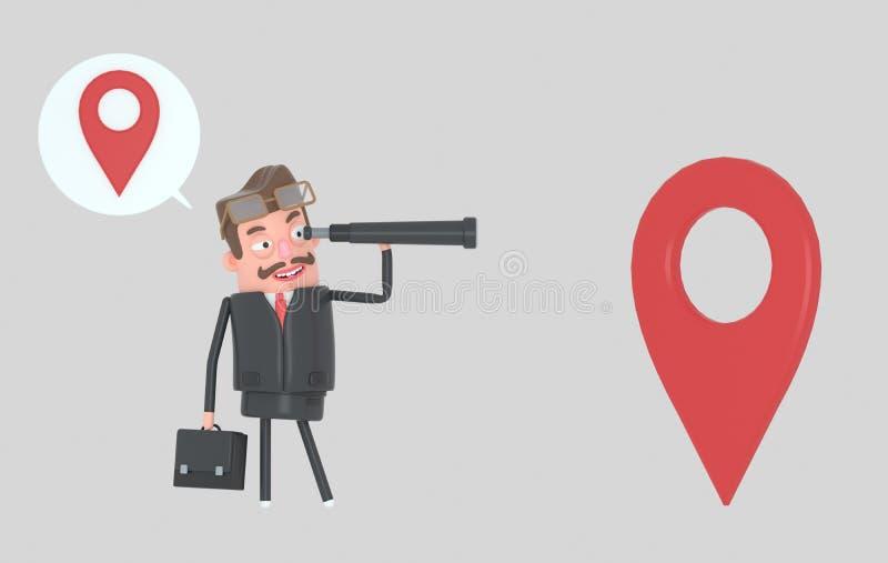 Situación del hombre de negocios y observación adelante en un catalejo Víspera de Todos los Santos ilustración 3D libre illustration