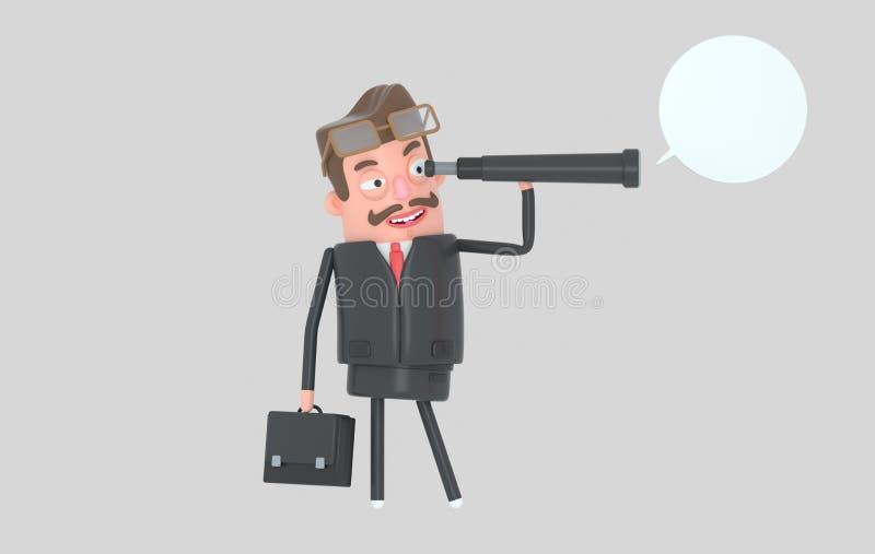 Situación del hombre de negocios y observación en un catalejo ilustración 3D libre illustration