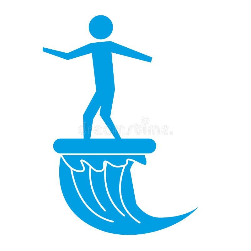 Situaci?n del hombre en pictograma de la onda del montar a caballo de la tabla hawaiana ilustración del vector