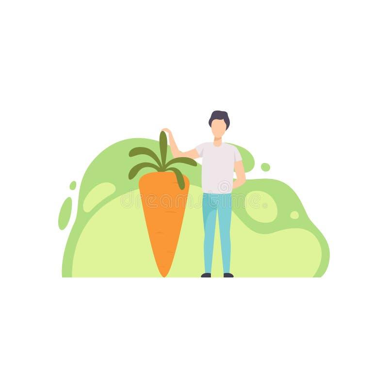 Situación del hombre joven al lado del ejemplo maduro gigante del vector de la zanahoria en un fondo blanco ilustración del vector