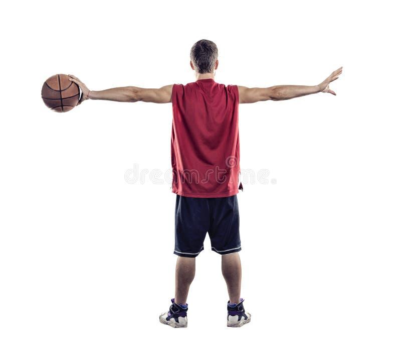 Situación del jugador de básquet de nuevo a cámara con la bola a disposición aislada en el fondo blanco fotos de archivo libres de regalías