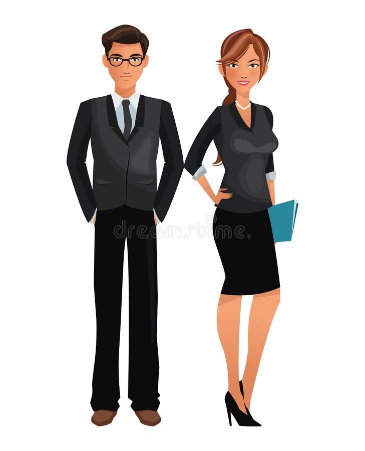 Situación del negocio de la oficina del trabajador de los pares ilustración del vector