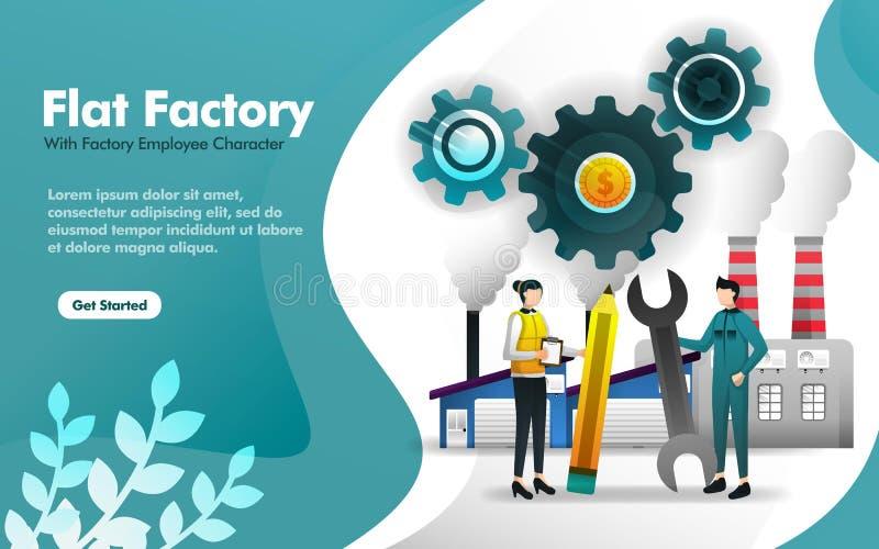 Situación del obrero delante del edificio de la fábrica en estilo plano puede utilizar para, página el aterrizaje, web, app móvil stock de ilustración