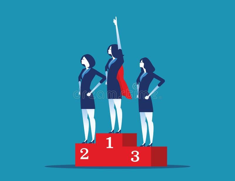 Situación del super héroe de la dirección en el podio que gana Ejemplo del vector del ?xito empresarial del concepto ilustración del vector