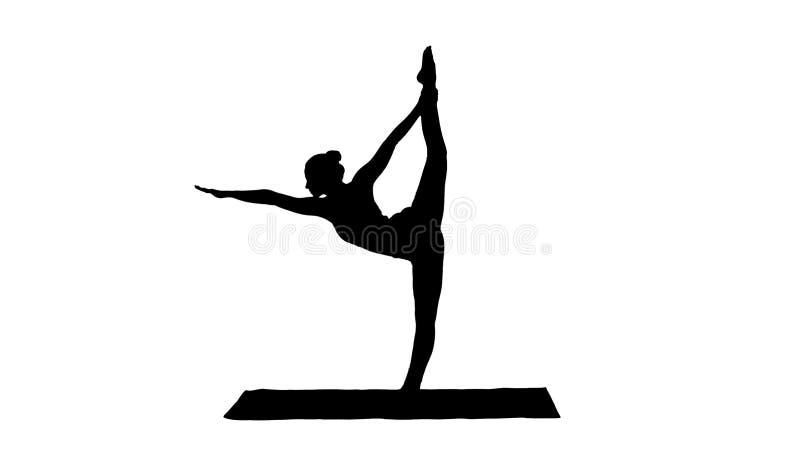 Situación delgada de la mujer de la silueta en dhanurasana del dandayamana de la actitud de la yoga stock de ilustración