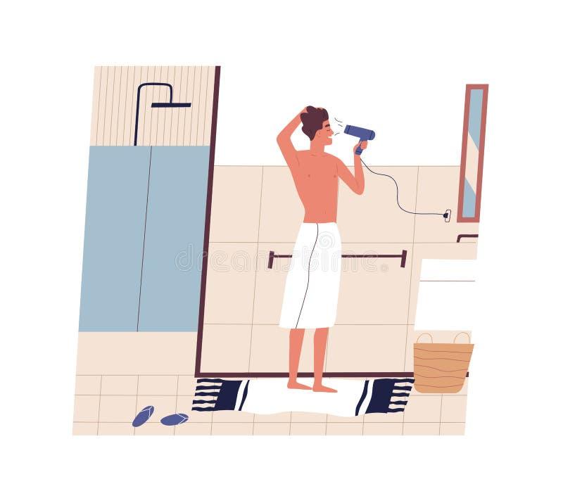 Situación divertida linda del hombre joven delante del espejo y secado de su pelo con el hairdryer Individuo feliz que usa el sec stock de ilustración