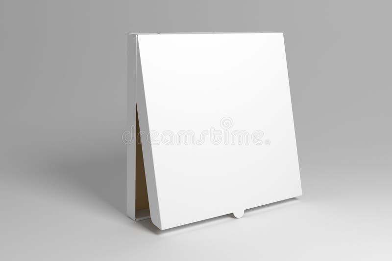 Situación en blanco 3D que rinde mofa de la caja de la pizza encima de la plantilla stock de ilustración