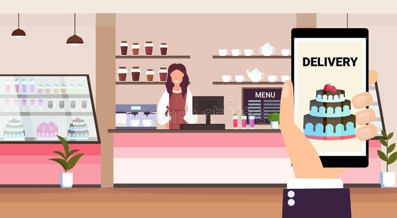 Situación en línea del tendero de la panadería del concepto de la entrega de la comida de la aplicación móvil detrás del interior ilustración del vector