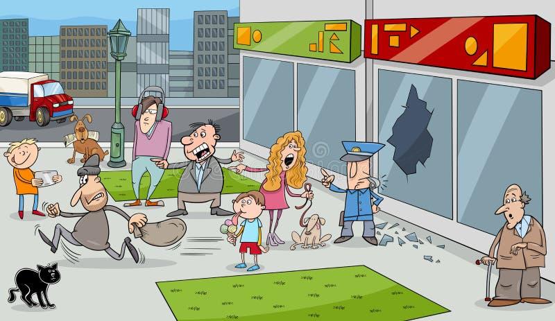 Situación en la calle con la muchedumbre ilustración del vector