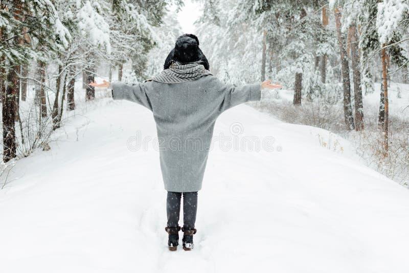 Situación hermosa de la mujer joven entre árboles nevosos en bosque del invierno y nieve del goce imagen de archivo