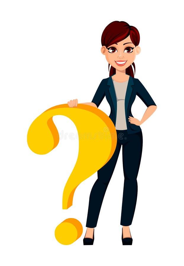Situación hermosa joven de la mujer de negocios cerca del signo de interrogación grande libre illustration