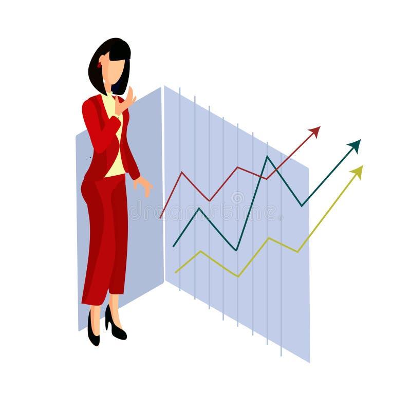 Situación isométrica de la mujer en la situación estricta roja del traje cerca de gráficos ilustración del vector