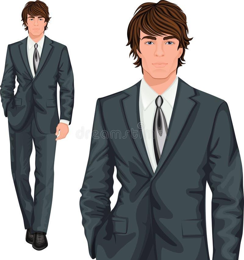 Situación joven del hombre de negocios ilustración del vector