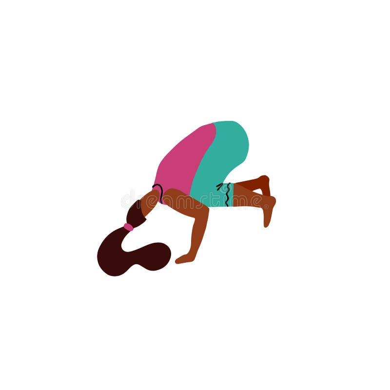 Situación linda de la mujer en actitud o Bakasana del cuervo El soporte de la mujer joven en los brazos en actitud de la yoga, me ilustración del vector