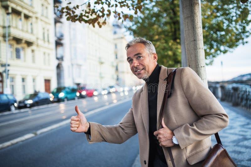 Situación madura del hombre de negocios en la calle en la ciudad, aumentando su mano para granizar un taxi fotografía de archivo