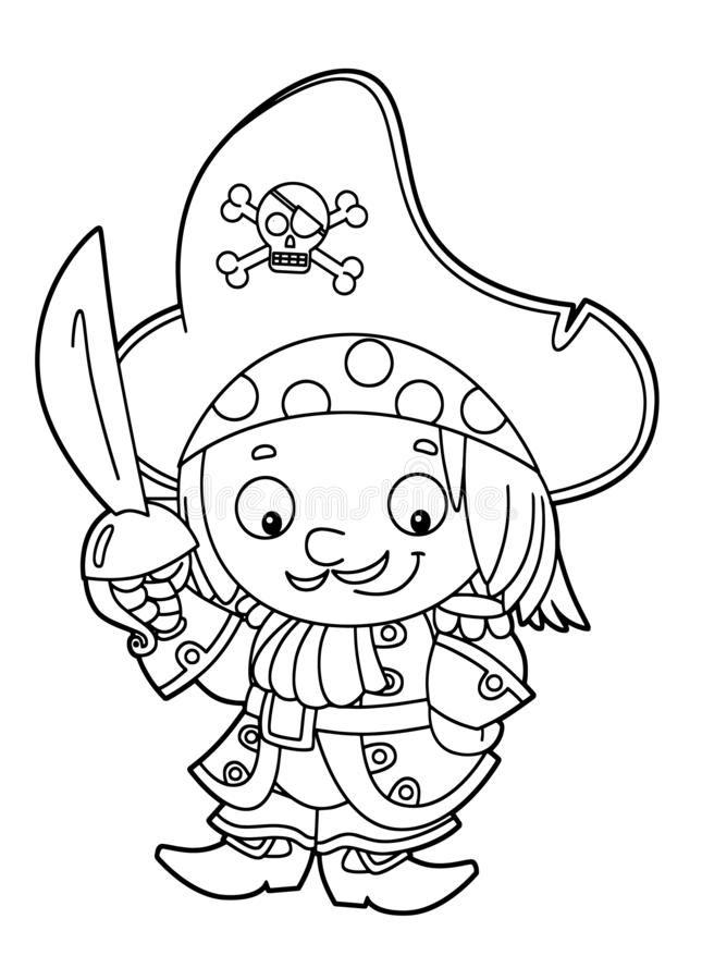 Situación medieval sonriente feliz del pirata de la historieta con la tarifa grande de la espada que se coloca con el colorante d stock de ilustración