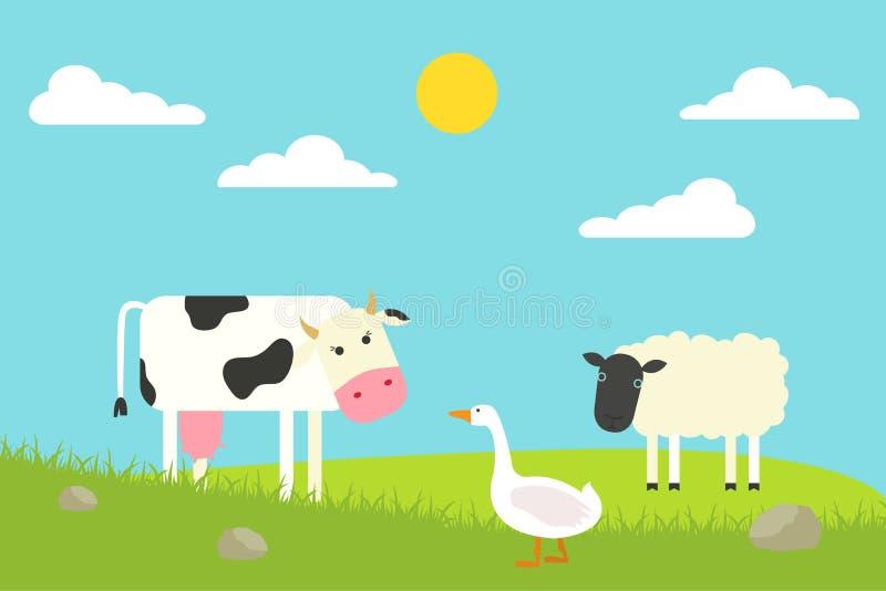 Situación plana de la vaca, del ganso y de las ovejas en campo Ilustración del vector fotografía de archivo