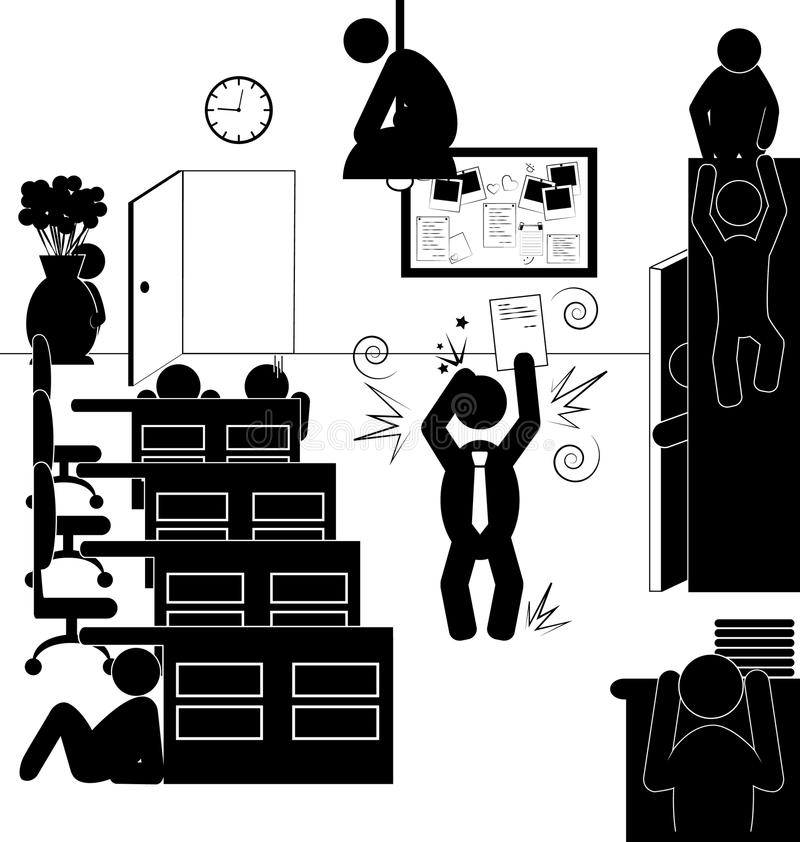 Situación plana de los iconos de la oficina con el jefe enojado y los trabajadores de ocultación stock de ilustración