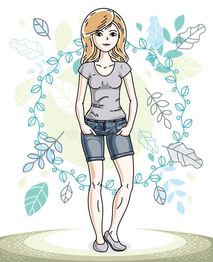 Situación rubia joven bonita feliz de la mujer en el fondo del paisaje de la ecología de la primavera con las hojas azules delica libre illustration