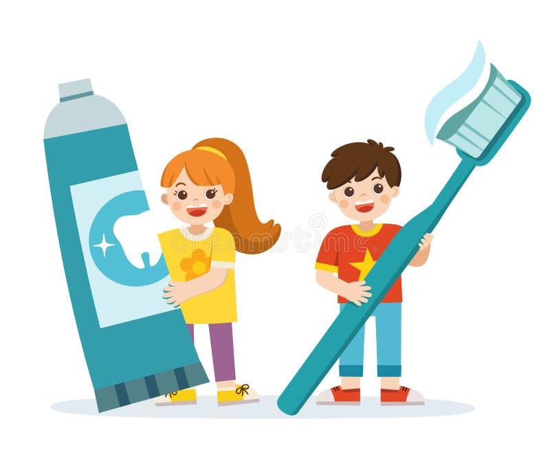 Situación sonriente del muchacho y de la muchacha, sosteniendo el cepillo de dientes y la crema dental stock de ilustración