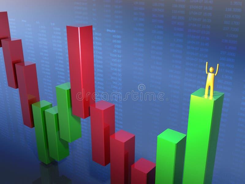 Situación stickman de oro en una barra verde foto de archivo libre de regalías