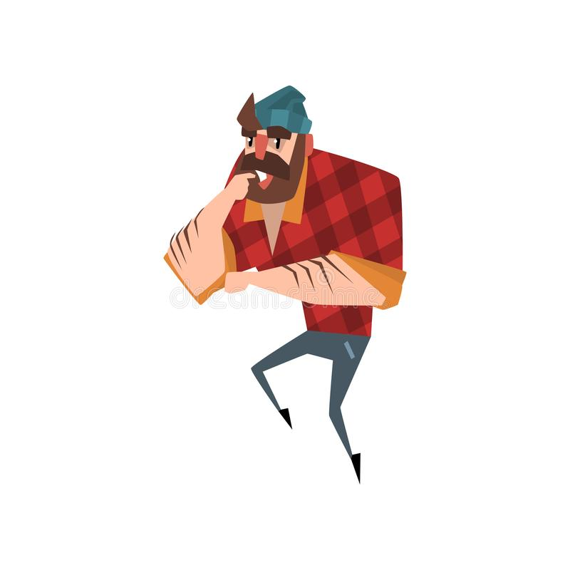 Situación y pensamiento del hombre del bosque de la historieta Leñador barbudo fuerte El leñador se vistió en la camisa a cuadros ilustración del vector