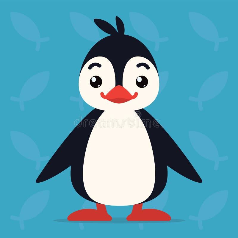 Situación y sonrisa lindas del pingüino El ejemplo del vector del pájaro ártico muestra la emoción feliz Sonrisa Emoji Icono sonr ilustración del vector
